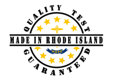 Quality test guaranteed stamp with a state flag inside, Rhode Island photo