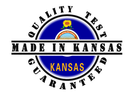 passed test: Quality test guaranteed stamp with a state flag inside, Kansas Stock Photo