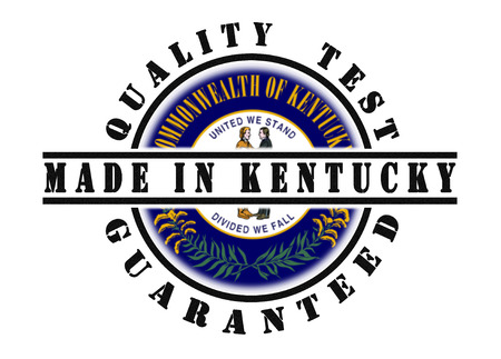 kentucky: Quality test guaranteed stamp with a state flag inside, Kentucky Stock Photo