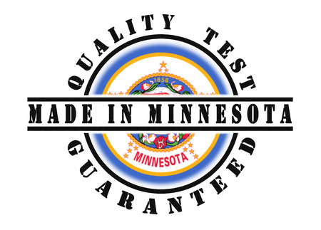 qualify: Quality test guaranteed stamp with a state flag inside, Minnesota Stock Photo
