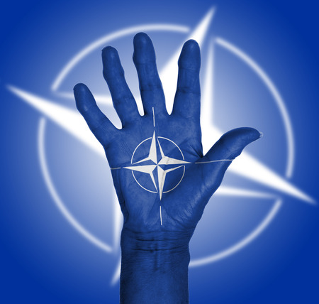 nato: Palm of a woman hand, body paited, NATO