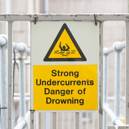 Water hazard signs, strong undercurrents, danger of drowning photo