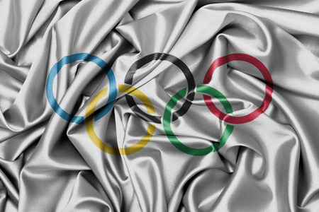 olympiad: Satin flag with emblem, the olympic  rings
