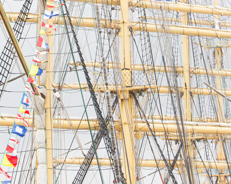 topsail: Details of old sail and old ship masts