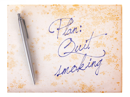 quiting: Old paper grunge background, white and brown - Quit smoking