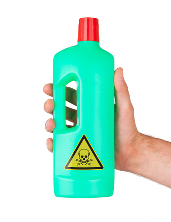 poisonous: Plastic bottle cleaning-detergent, poisonous, isolated on white