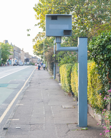 UK static speed camera on a sidewalk in Edinburgh photo
