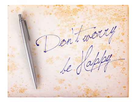 dont worry: Old paper grunge background, white and brown - Dont worry be happy Stock Photo