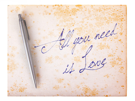 stylo: Old paper grunge background, white and brown - All you need is love