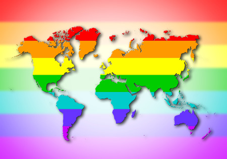 World - Map, filled with a rainbow flag pattern photo