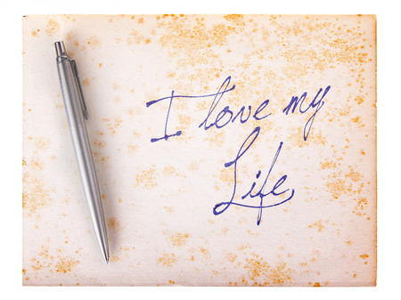 stylo: Old paper grunge background, white and brown - I love my life