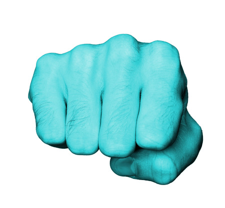 Very hairy knuckles from the fist of a man punching, blue skin photo