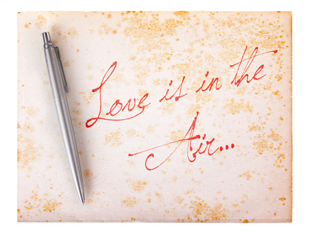 stylo: Old paper grunge background, white and brown - Love is in the air Stock Photo