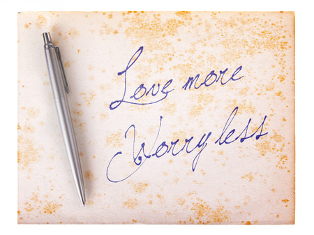 stylo: Old paper grunge background, white and brown - Love more, worry less Stock Photo