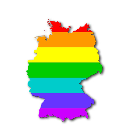 Germany - Map, filled with a rainbow flag pattern photo