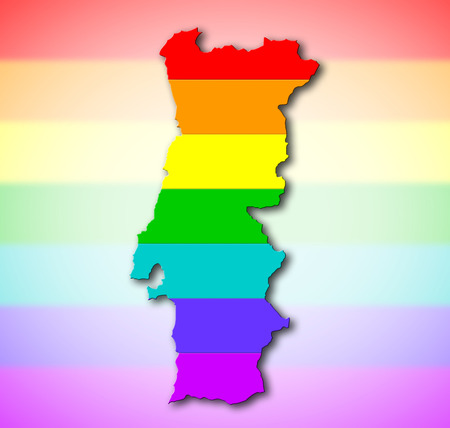 portugese: Portugal - Map, filled with a rainbow flag pattern