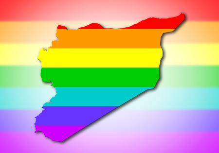 Syria - Map, filled with a rainbow flag pattern photo