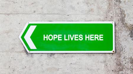 green sign: Segno verde su un muro di cemento - Speranza vive qui