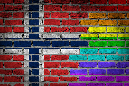 lesbo: Dark brick wall texture - coutry flag and rainbow flag painted on wall - Norway Stock Photo