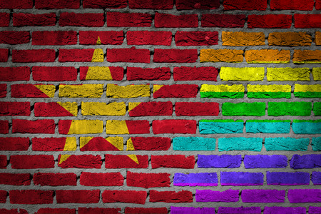 lesbo: Dark brick wall texture - coutry flag and rainbow flag painted on wall - Vietnam Stock Photo