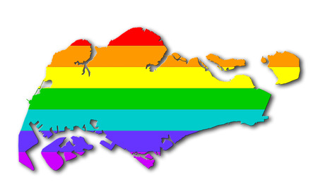Map, filled with a rainbow flag pattern - Singapore photo