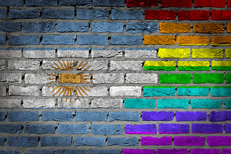 lesbo: Argentina country flag and rainbow flag painted on wall