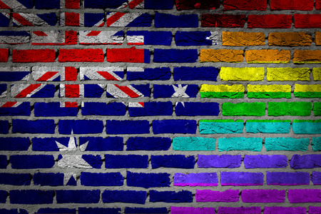 lesbo: Australia country flag and rainbow flag painted on wall