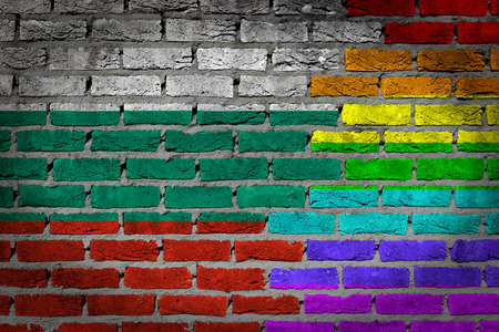 lesbo: Bulgaria country flag and rainbow flag painted on wall