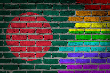 lesbo: Bangladesh country flag and rainbow flag painted on wall