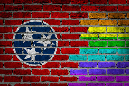 lesbo: Tennessee country flag and rainbow flag painted on wall Stock Photo