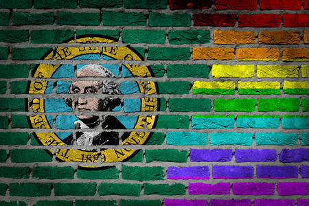 lesbo: Washington country flag and rainbow flag painted on wall Stock Photo
