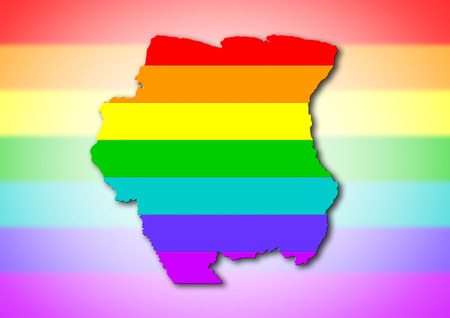 suriname: Suriname - Map, filled with a rainbow flag pattern Stock Photo