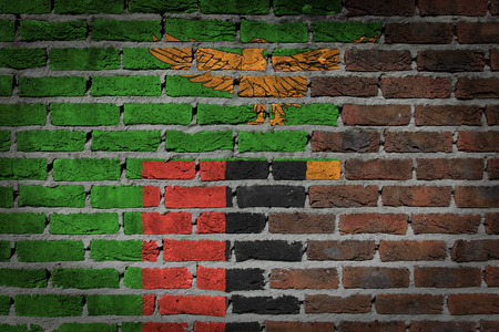 zambian flag: Dark brick wall texture - flag painted on wall - Zambia