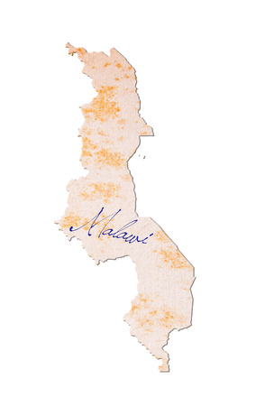 malawi: Old paper with handwriting, blue ink - Malawi Stock Photo