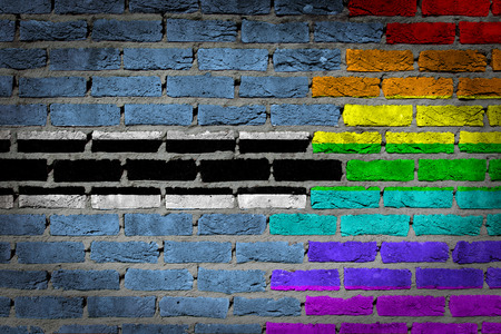 lesbo: Botswana country flag and rainbow flag painted on wall