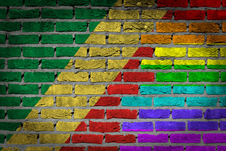 lesbo: Congo country flag and rainbow flag painted on wall