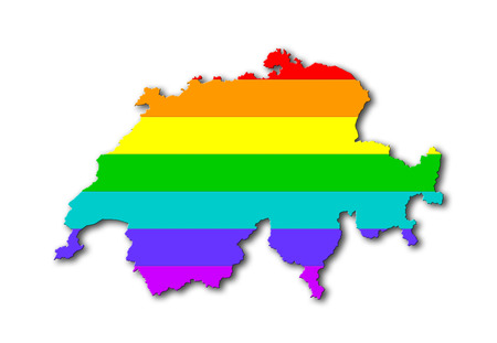 Switzerland - Map, filled with a rainbow flag pattern