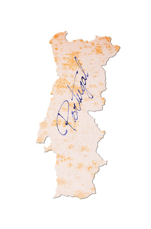 portugese: Portugal - Old paper with handwriting, blue ink Stock Photo