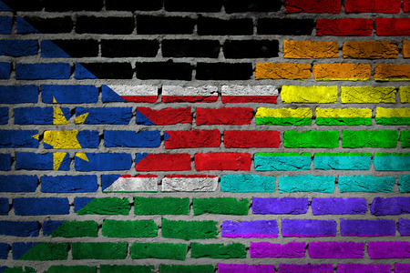 lesbo: Dark brick wall texture - coutry flag and rainbow flag painted on wall - South Sudan