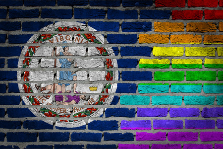 lesbo: Dark brick wall texture - coutry flag and rainbow flag painted on wall - Virginia
