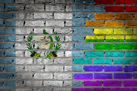lesbo: Dark brick wall texture - coutry flag and rainbow flag painted on wall - Guatemala