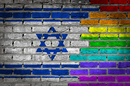 Dark brick wall texture - coutry flag and rainbow flag painted on wall - Israel