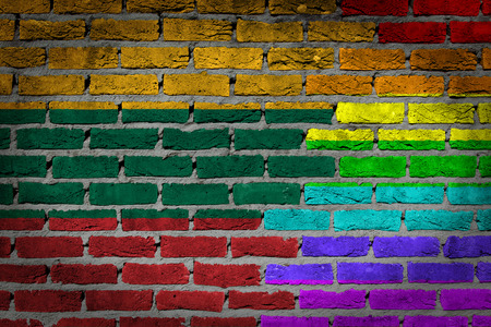 lesbo: Dark brick wall texture - coutry flag and rainbow flag painted on wall - Lithuania