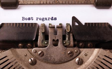 best regards: Vintage inscription made by old typewriter, best regards Stock Photo