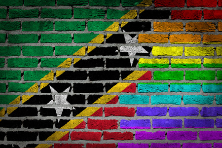 lesbo: Dark brick wall texture - coutry flag and rainbow flag painted on wall - Saint Kitts and Nevis Stock Photo