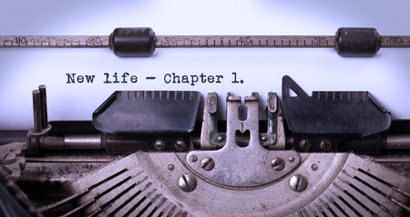 chapter: Vintage inscription made by old typewriter, new life, chapter 1