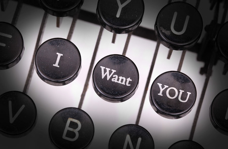 typebar: Typewriter with special buttons, I - want - you Stock Photo