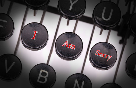 i am sorry: Typewriter with special buttons, I am sorry