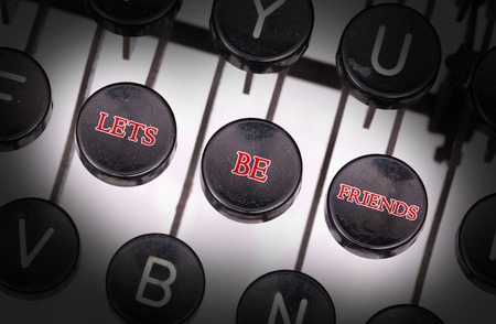 typebar: Typewriter with special buttons, Lets be friends Stock Photo