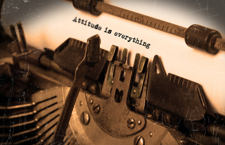 Close-up of an old typewriter with paper, perspective, selective focus, attitude is everything photo
